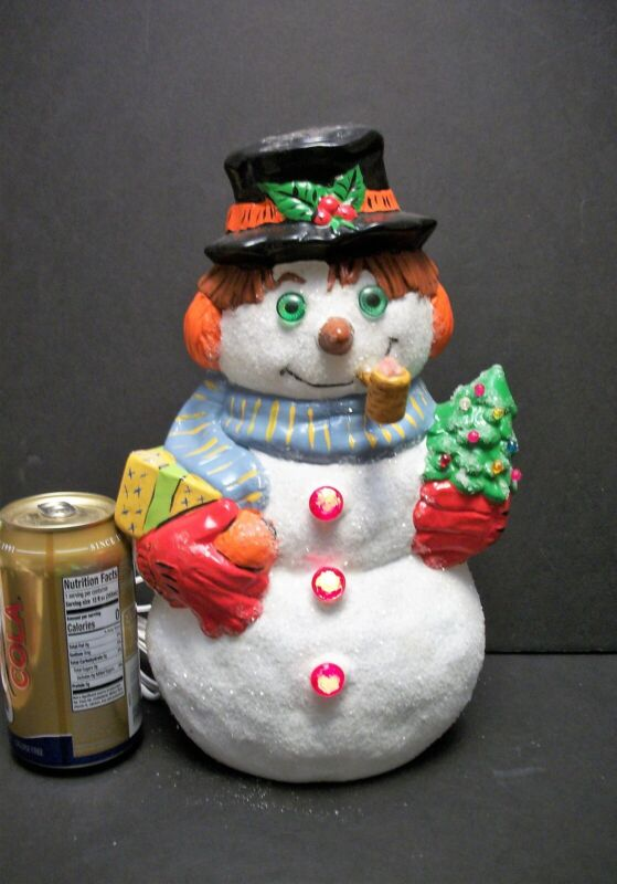 """Vtg LIGHTED Ceramic Snowman 12"""" Christmas Decor Hand Painted COLORFUL"""