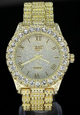 Mens 14k Gold Plated Simulated Diamond Hip Hop Rapper Techno Pave Watch