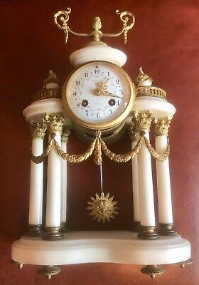 Antique French Samuel Marti Marble and Ormulo Clock with Matching - Samuel Marble