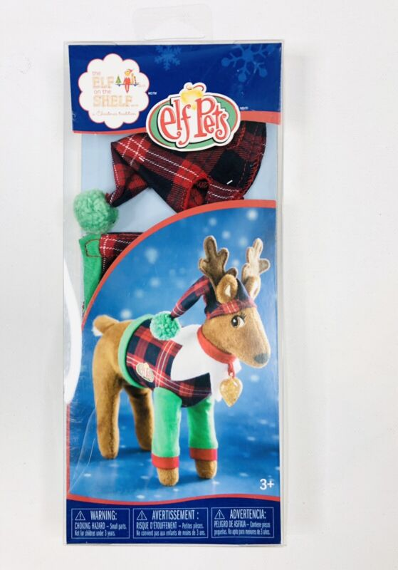 Elf on the Shelf Elf Pets Playful Reindeer Red Plaid Pajamas PJs Claus Couture