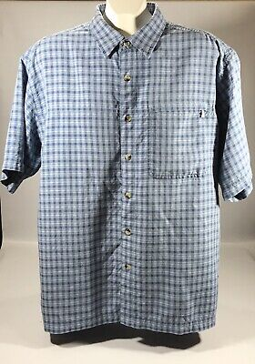 The North Face Men's Medium Blue Plaid Short Sleeve Button Down Hiking Shirt