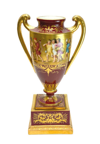 Royal Vienna Hand Painted Porcelain Double Handled Urn, circa 1920