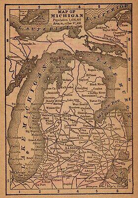Map of Michigan c1837 repro 34x24