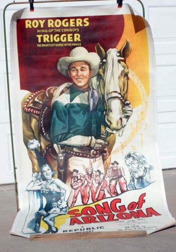 Rare 1946 SONG OF ARIZONA Roy Rogers & Trigger 3sht on linen REDUCED