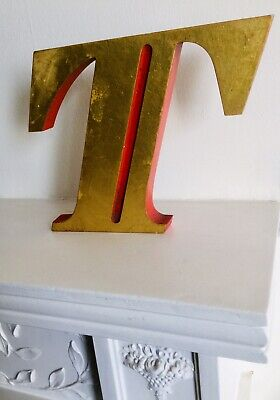 Vintage Reclaimed Gothic Font Advertising Letter 'T' Gold red Highlights 15cm H