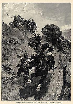 Frank Kirchbach ( Reiter mit Streithammer )  Militärische Graphik von 1899