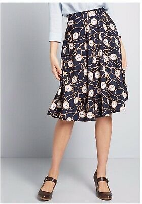 Modcloth Just This Sway, A Line Skirt, Navy W/ Gold Clocks, Size S, NWOT