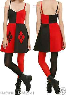 HARLEY QUINN COSPLAY COSTUME DRESS ~DC COMICS BATMAN~ FREE SHIPPING