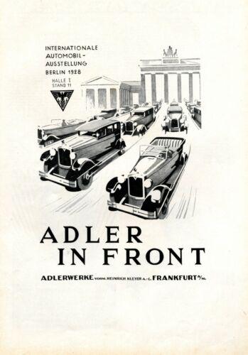 Adler Automobiles XL 1928 ad Berlin Brandenburg Gate advertising quadriga