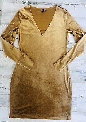 Divided H&M Women's Long Sleeve Dress Gold Velvet Size 12 Holiday Christmas
