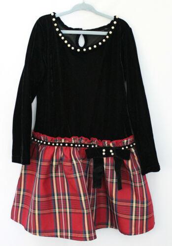 Girls Dress Velour Top Check Print Bottom Long Sleeve Black/Red Size 7-8