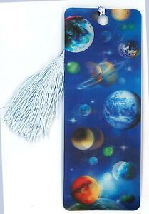 3D Bookmark - PLANETS - Lenticular with Tassel - Image Pops Right Out