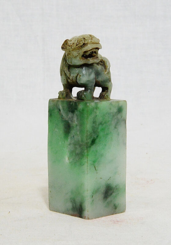 Nice Hand Carved Chinese Natural Jadeite Seal   M802
