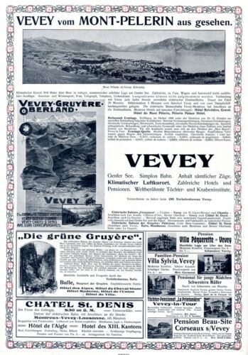 City of Vevey Canton of Vaud Switzerland XL 1909 ad Oberland advertising