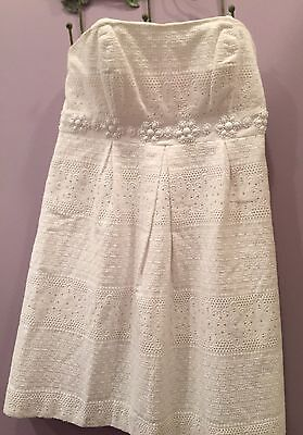 Lilly Pulitzer White Betsy Dress Strapless   Beaded Classic Lace  Sz 10 NWT
