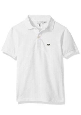 **NWT NEW Authentic Lacoste Classic Cotton White Polo Shirt Kids Boys Size 8
