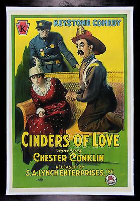 CINDERS OF LOVE CineMasterpieces KEYSTONE COPS FIREMAN MOVIE POSTER 1920 SILENT