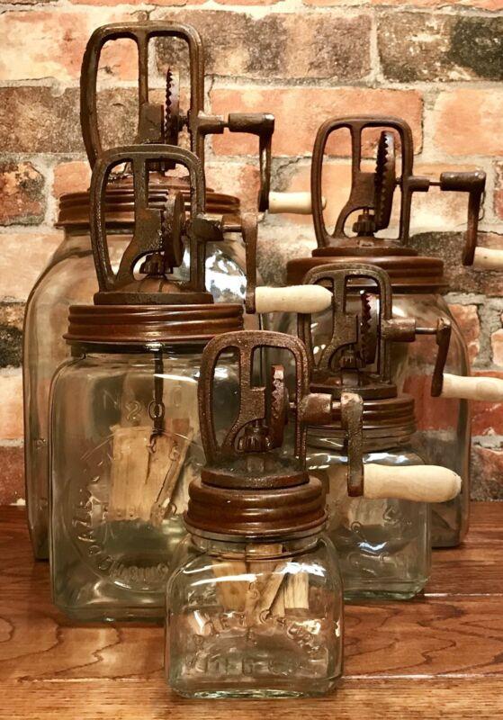 (5) Piece Dazey Churn Glass Set w/ Wood Paddles, Nos. 5, 10, 20, 40, & 80
