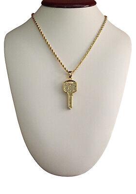 Iced Bling CZ 14K Gold GP Key Pendant & 30