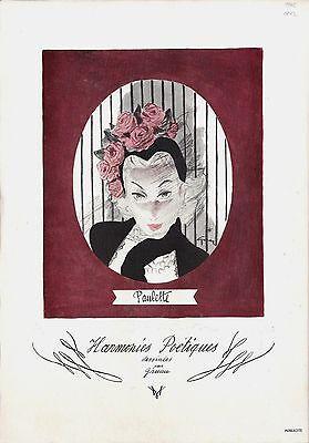 Original vintage ad print FRENCH FASHION HARMONIES 1945 Gruau (22)