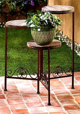 WEATHERED WOOD RUSTIC  3 TIER PLANT STAND * Triple Tier Gate Design ** NIB