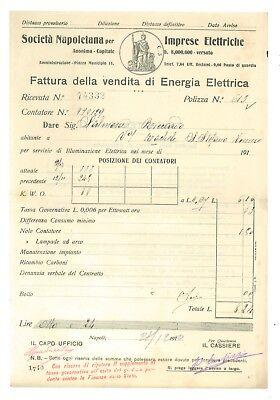 SOCIETA' NAPOLETANA IMPRESE ELETTRICHE 2 FATTURA ENERGIA ELETTRICA 1910 NAPOLI
