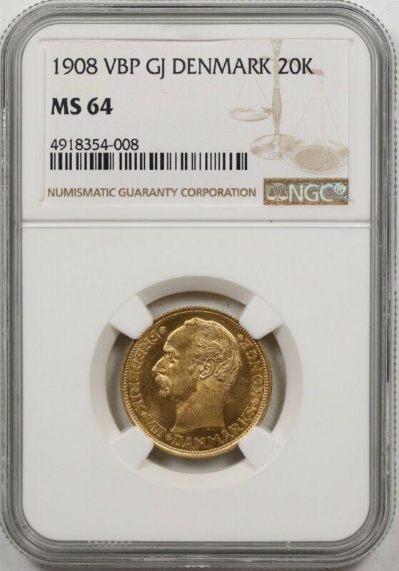 1908 VBP GJ Denmark 20K NGC MS 64 Gold 20 Kroner