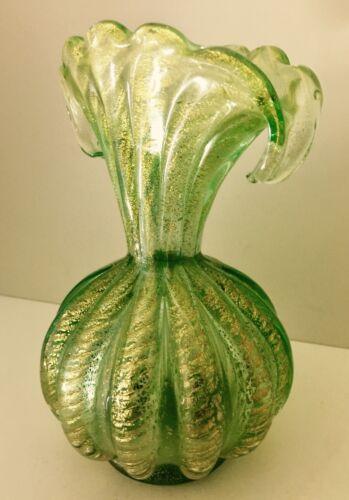 """Murano Art Glass Barovier Toso Cordonato d'Oro Murano Golden Ropes Vase 8"""" 1950s"""