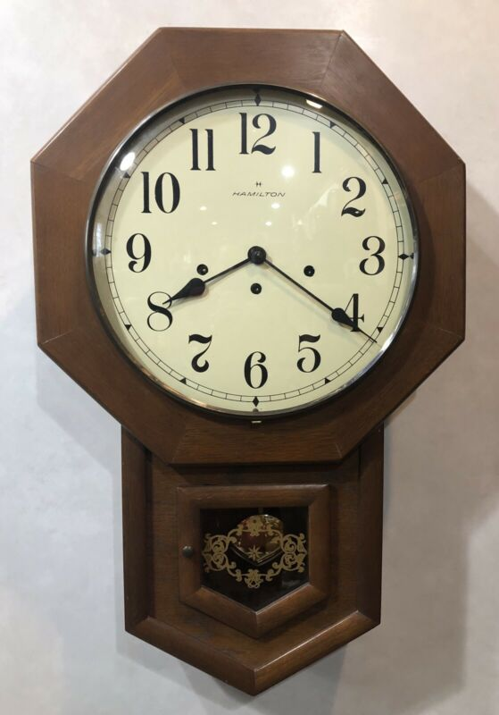 Hamilton Drop Octagon School House Westminster Chime German Hermle Wall Clock