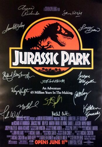 JURASSIC PARK MOVIE Poster Signed by 14 cast members Excellent condition replica