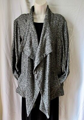 EILEEN FISHER Open Jacket Mottled Gray Cotton Blend Pockets Long Slv XL EUC rjd