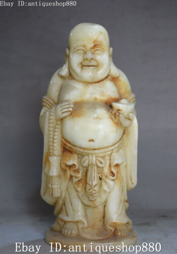 "10"" China Natural China Old Jade Carving Wealth Yuanbao Maitreya Buddha Statue"