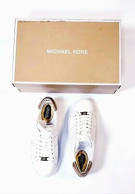 Michael Kors Irving Sneakers Leather Lace-Up Shoes Optic White/Gold Size US 5.5