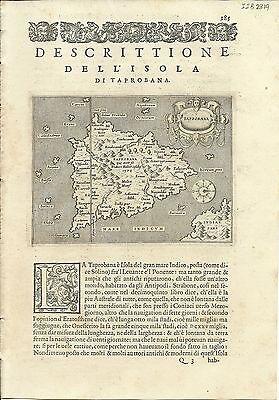 Antique maps, Taprobana [Porcacchi, 1576]