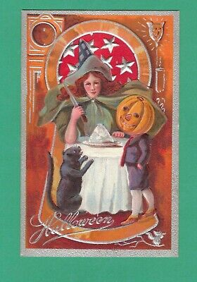 VINTAGE KEYHOLE SERIES HALLOWEEN POSTCARD WITCH KNIFE PUDDING CAT JOL-BOY