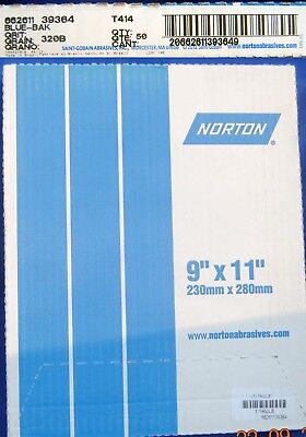 Norton Blue-bak T414 Waterproof Paper 50 Sheet Pack 320b Grit New Free Shipping