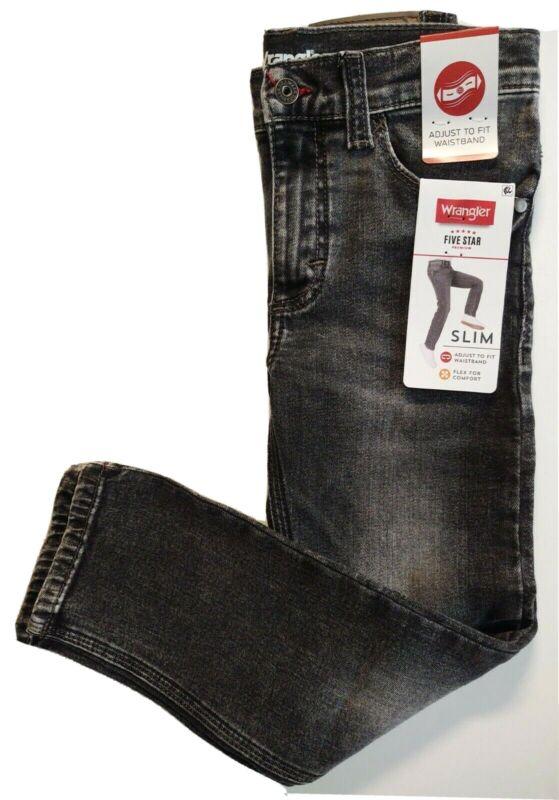 Wrangler Boys Slim Fit Jeans Adjustable Waistband Black 6 Regular