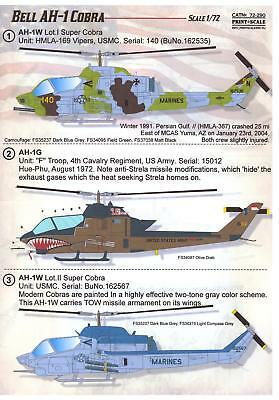 Wording Scale Decals 1/72 BELL AH-1 COBRA American Attack Helicopter