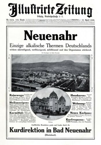 Spa Bad Neuenahr Germany XL 1909 advertising hot water ad