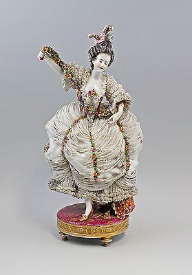 Große Porzellan Spitzen-Figur Tanzende Rokoko Dame Ludwigsburg 20. Jh.   7740008