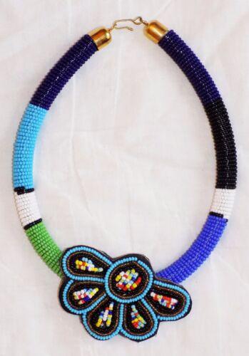 African Maasai Beaded Pendant Choker Necklace one-of-a-kind Masai Massai jnkf9