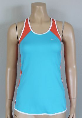 - NIKE Women's Dri-Fit Teal & Orange Mesh Running Singlet Tank Top, Size XS