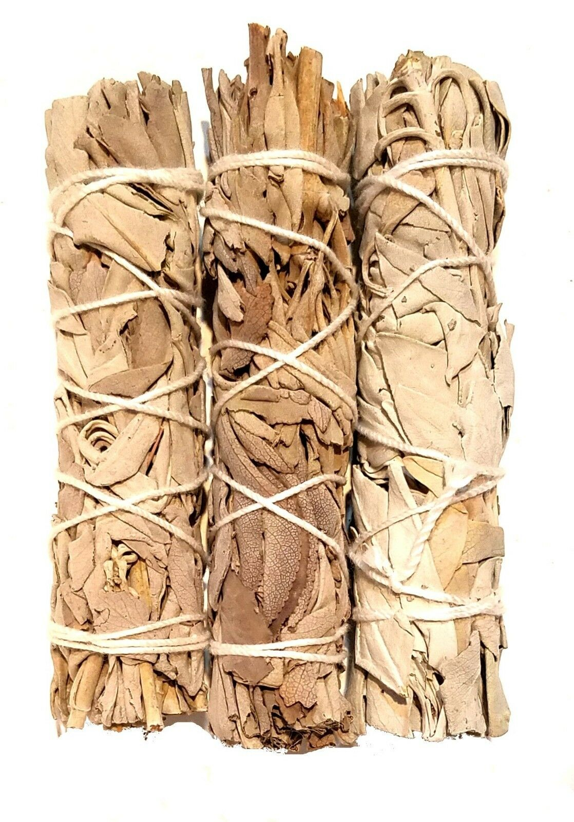 """LOT of 3 WHITE Sage Smudge 4.5"""" to 5"""" Stick House Cleansing Negativity Removal"""