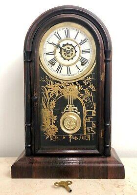 RESTORED Antique Waterbury Alarm Chime Cathedral Mantel Clock #1866