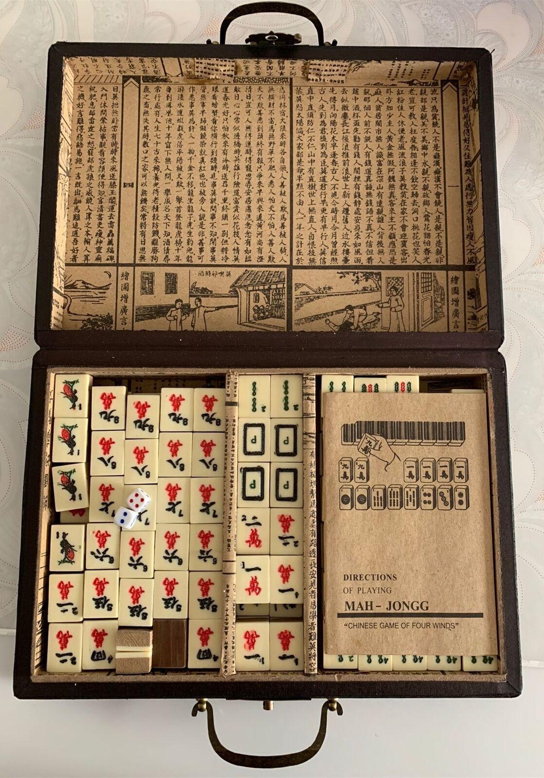 Exquisite 144 Tiles bamboo//bone Mahjong Set With wood leather Dragon/&Phoeni Box