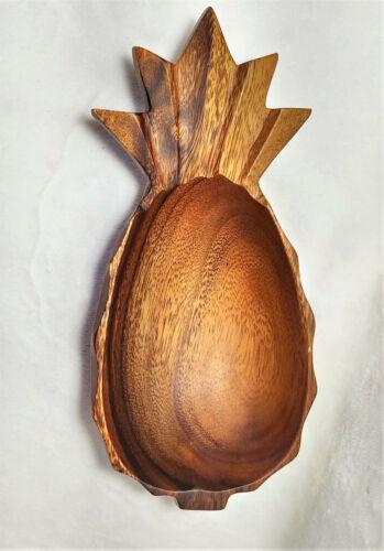 Vintage Monkey Pod Wood Pineapple Bowl Salad Single Serving 9 1/2 in