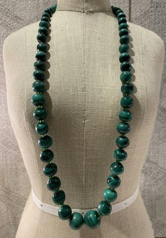Vintage Malachite Stone & Green Glass Beaded Graduated Single Strand Necklace