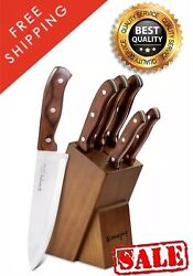 Kitchen Knife Set 6Pcs Wooden Handle Block Stainless Steel Chef Pakkawood Handle