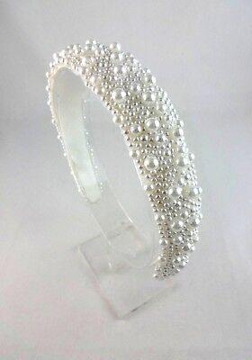 Pearl Headband White Satin Lining Flexible Bridal Headpiece Bandeau