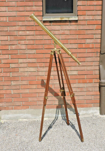 "VINTAGE BRASS TELESCOPE ON WOODEN TRIPOD MARITIME NAUTICAL 60"" TALL"